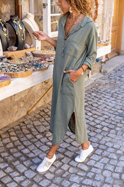 Güneşkızı Kadın Haki Yıkamalı Keten Yarım Patlı Cepli Elbise GK-RSD2083