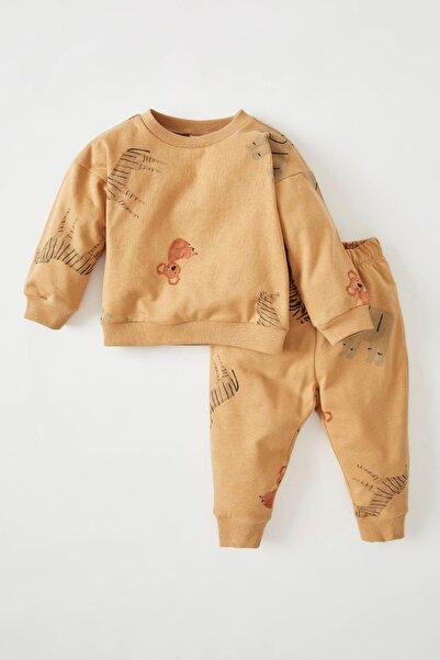 DeFacto Erkek Bebek Regular Fit Hayvan Desenli Içi Yumuşak Tüylü2'li Takım