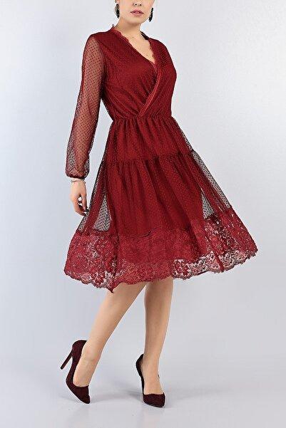 Md1 Collection Kadın Bordo Dantel Detay Tül Gece Nişan Düğün Partı Yeni Sezon Elbise 77556