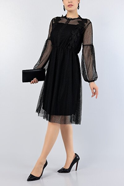 Md1 Collection Kadın Siyah Dantelli Işlemeli Gece Parti Nişan Yeni Sezon Tül Elbise 77543