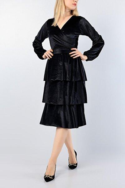 Md1 Collection Kadın Siyah Kadife Kemerli Katlı Gece Parti Nişan Yeni Sezon Elbise 76747