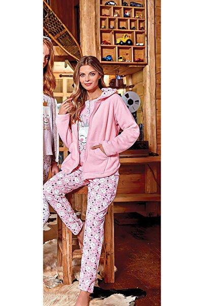 Berrak 637 Pembe 3 Parça Kadın Pamuklu Pijama Takımı