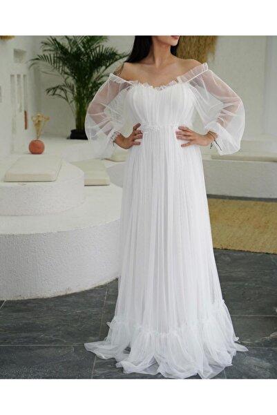 Elbisen Burada Beyaz Tül Nikah Elbisesi