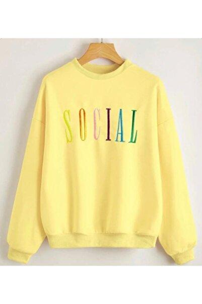 Leprikon Kadın Sarı Nakış Detaylı Sweatshirt