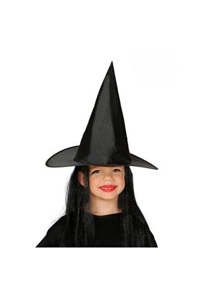 Beyaz At Çocuk Boy Siyah Cadı Şapkası Ve Uzun Siyah Cadı Peruğu. -