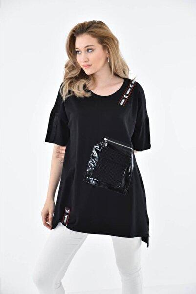 Modkofoni Yuvarlak Yaka Şeritli Taşlı Ve Fermuarlı Cep Detaylı Siyah Kadın Bluz