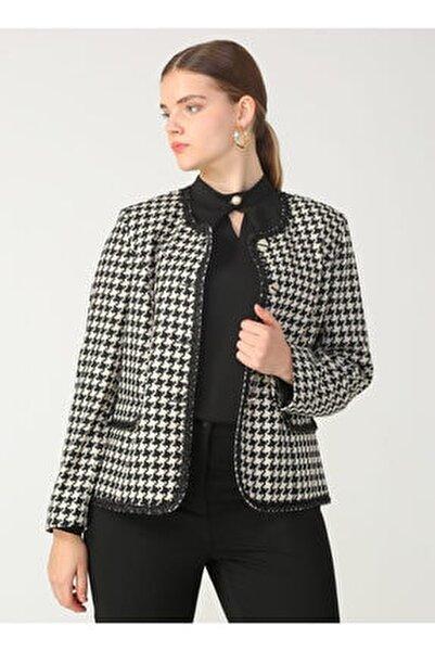 Kadın Kapak Cepli Desenli Ceket