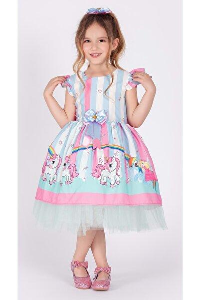 Mnk Kız Çocuk Boynuzlu At Tütülü Elbise
