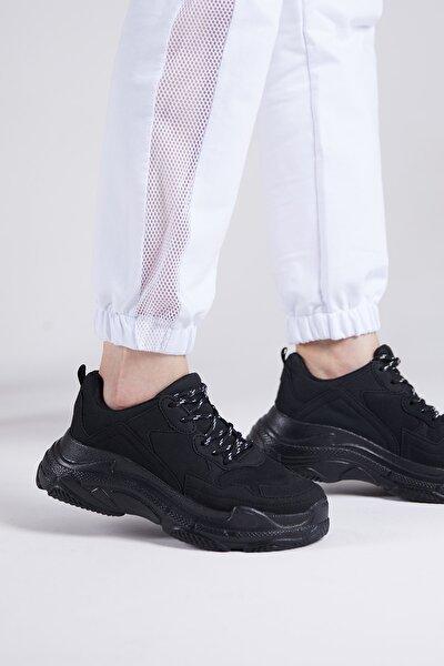 Tonny Black Kadın  Spor  Siyah Süet Ayakkabı