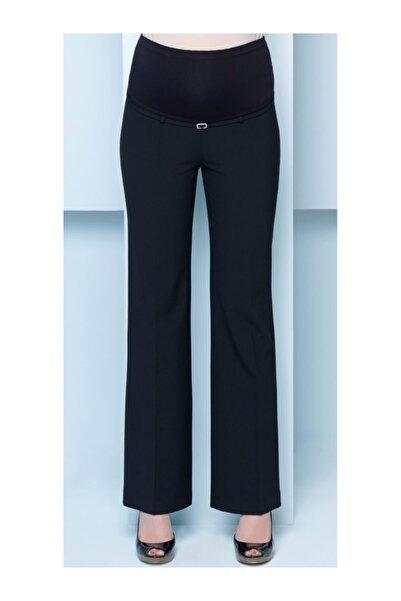 Ebru Maternity Kadın  Bol Paça Siyah Kumaş Hamile Pantolonu