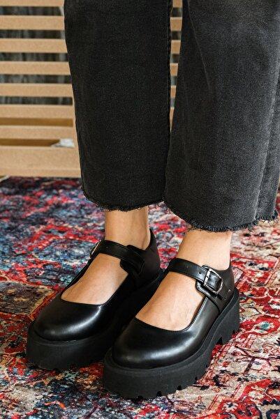 Marjin Kadın Kalın Taban Günlük Ayakkabı GesofSiyah