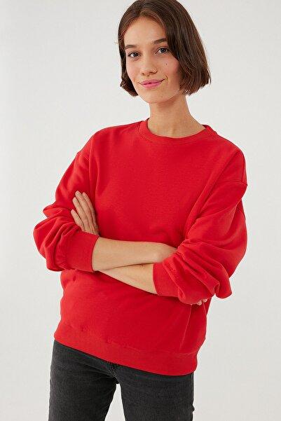 Mavi Kadın Bisiklet Yaka Kırmızı Sweatshirt 1610198-80791