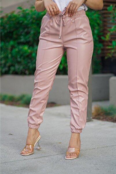 Tebessüm Life Kadın Pudra Lastikli Deri Pantolon