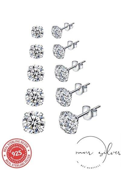 Onur Silver 5 Çift 925 Ayar Gümüş Kadın Tek Taş Model Zirkon Taşlı Yuvarlak Gümüş Küpe Seti 3, 4, 5, 6 Ve 7mm