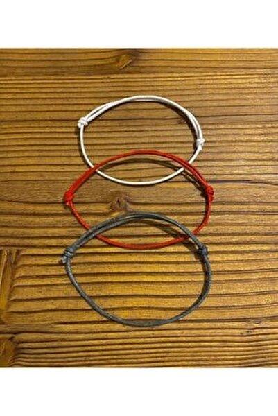 3lü Kalın Bileklik-kırmızı,gri,beyaz