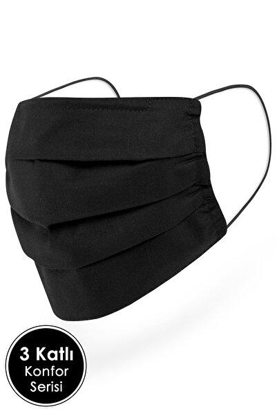Mutlu Maske Konfor Modeli 3 Katlı Uzun Burun Telli Siyah Renkli Unisex Pamuklu Kumaş Yıkanabilir Maske