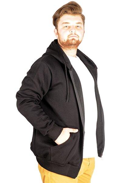 ModeXL Erkek Siyah Kapşonlu Zippered Basic Sweatshirt 20543