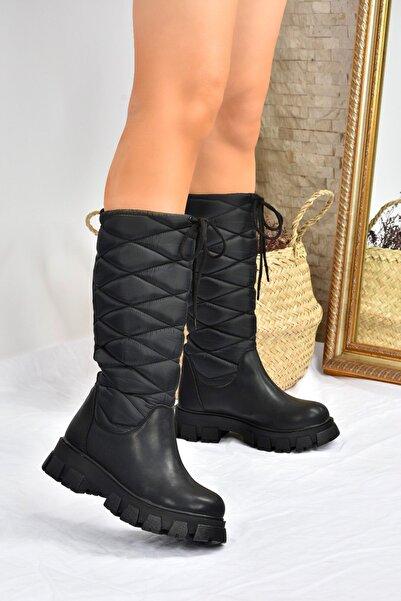 Fox Shoes Siyah Kalın Tabanlı Günlük Kadın Çizme L583180104