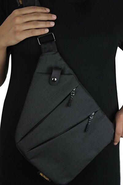 Av A Dos Unisex Siyah Kumaş Bel Ve Çapraz Askılı Çanta Göğüs Seyahet Günlük Bodybag