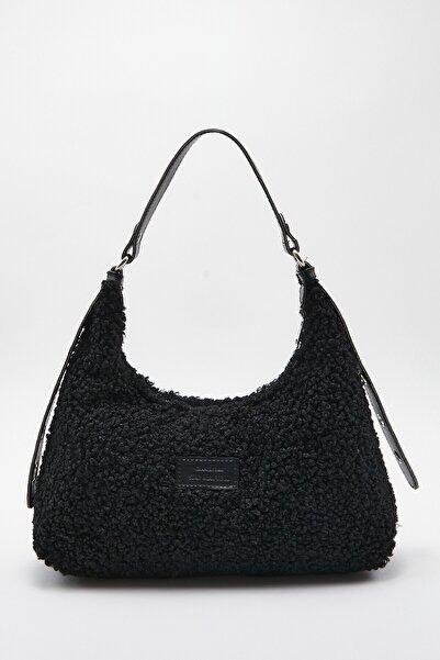 Ludo Vico Kadın Suni Kürklü Dokuma Baguette Çanta Siyah