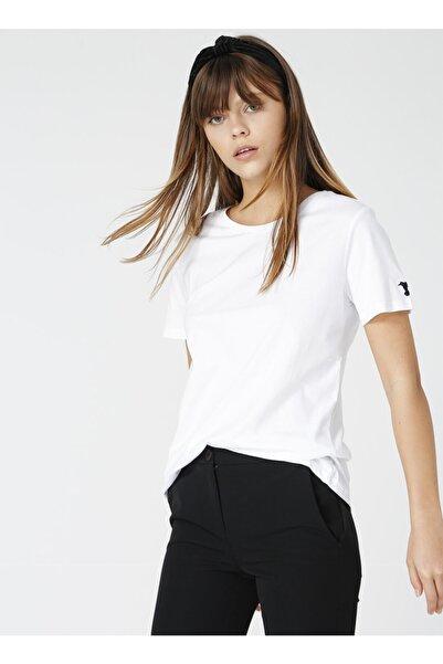 Fabrika Tengiz Beyaz Bisiklet Yaka Kadın T-shirt