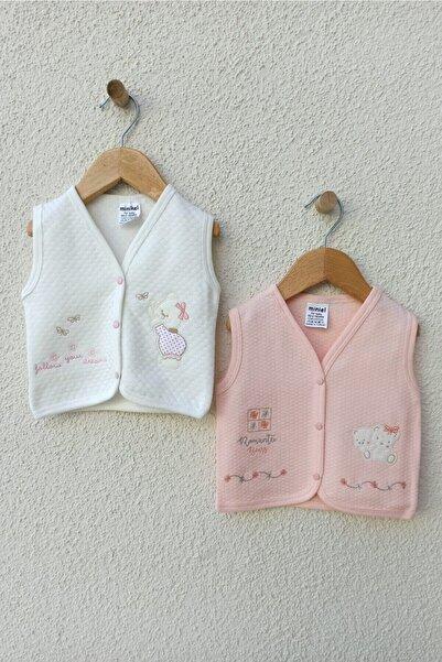 Gaye Bebe Kız Bebek Pembe-Beyaz Kapitone Nakışlı 2 Li Yelek 3-6-9 Ay