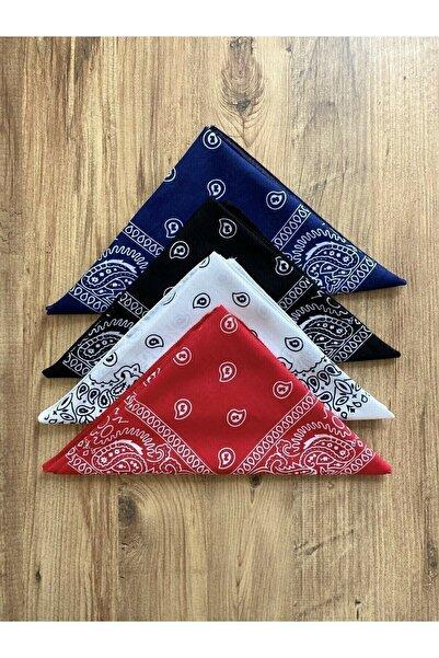 Fular Marketi Unisex 4 Adet Etnik Desenli Pamuk Bandana - Siyah Beyaz Kırmızı Lacivert