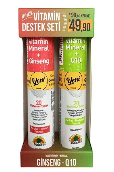 Sunlife Multivitamin Destek Seti ( Multivitamin-mineral + Ginseng & Multivitamin-mineral + Q10 )