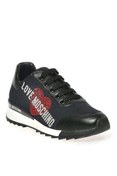 Love Moschino Yazı Baskılı Beyaz Siyah Kadın Sneaker