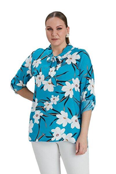 FİERTE Kadın Bluz Rg4621 Yaka Detay Çiçek Desen