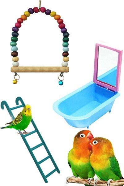 RETROAVM Muhabbet Kuşu Ve Papağanlar Için Salıncak Oyuncak Seti