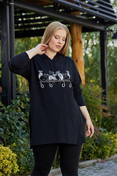 RMG Kedi Figürlü Taş İşlemeli Büyük Beden Siyah Sweatshirt