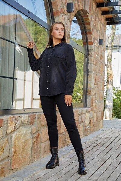 RMG Kadın Füme Renk Cepli Kot Gömlek