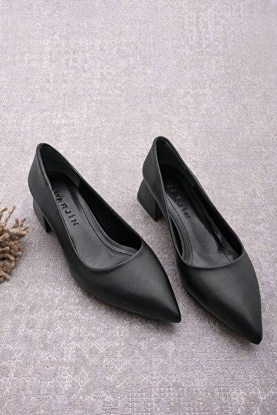 Marjin Kadın Sivri Burun Kalın Topuk Günlük Klasik Topuklu Ayakkabı Bonessiyah