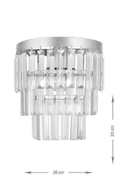 Avizemoda Linsa Kristal Cam Taşlı Lüks Aplik - (gümüş Yaldız)