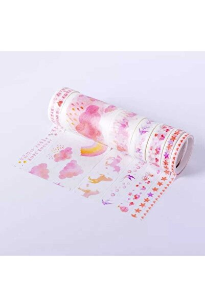 YEŞİL KIRTASİYE Pembe Bulut Tasarımlı Desenli Kağıt Bant Seti Washi Tape