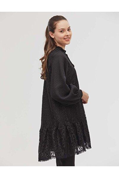 Kayra Dantelli Balon Kol Tunik Siyah