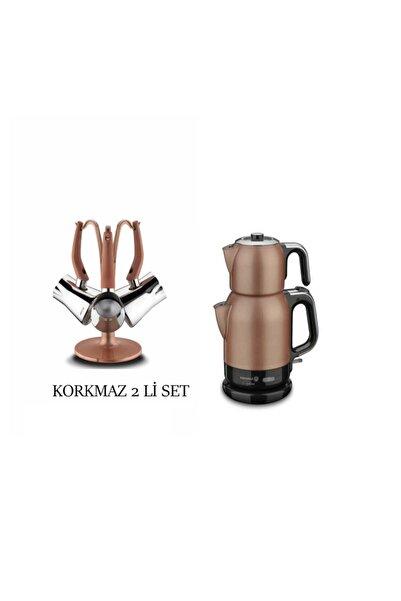 KORKMAZ Elektrikli Çay Makinesi- Roda Vita Cezve Takımı 2 Li Set