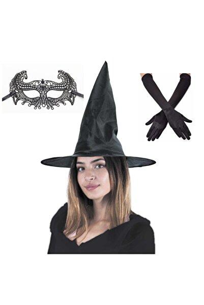 Partini Seç Halloween Siyah Cadı Şapkası, Kostüm Partisi Dantelli Balo Maskesi Ve Siyah Uzun Saten Eldiven