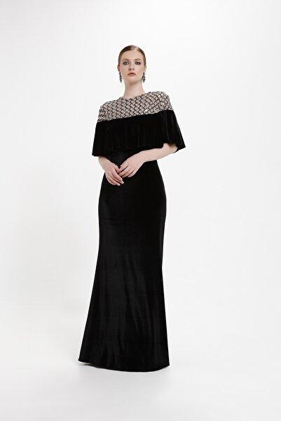 minel aşk Siyah Pelerin Detaylı Kadife Elbise