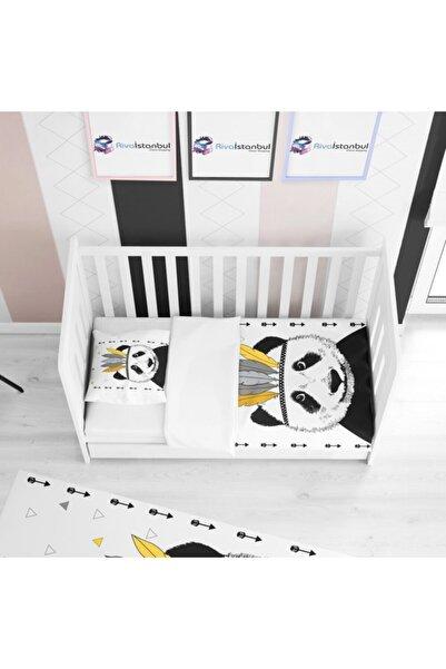 Tropikhome Kral Panda Beyaz Çocuk Yatak Örtüsü
