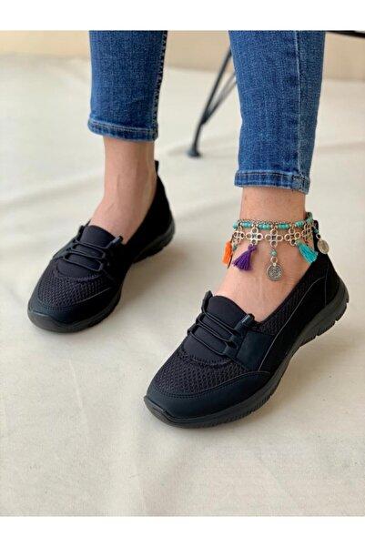 AYŞEM Kadın Siyah Ortopedik Günlük Ayakkabı