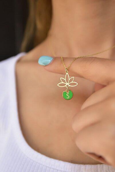 Papatya Silver 925 Ayar Gümüş Yeşil Mineli S Harf Lotus Çiçeği Kolye