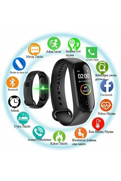 Teknobab M4 Akıllı Bileklik Renkli Ekran Adımsayar Ritim Ölçer Akıllı Saat Bileklik