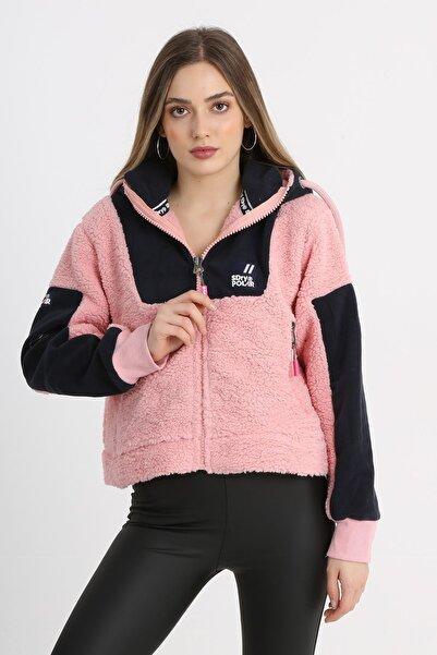 SUPERDRY Kadın Pembe Kapüşonlu Önü Fermuarlı Cepli Pelüş Sweatshirt