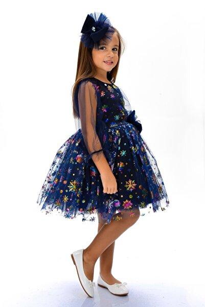 Mnk Rainbow Baskı Tütülü Kız Çocuk Elbise