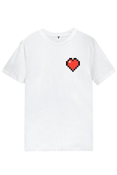 MINECRAFT Kalp Baskılı Unisex Kısa Kollu Beyaz Gamer Tişört
