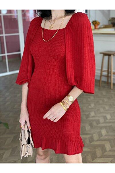 Tuğbanın Butiği Kırmızı Balon Kol Gipe Detaylı Elbise 100 cm