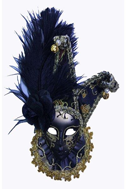 MağazanYanında Çıngıraklı Dekoratif Tüylü Seramik Maske Siyah Renk