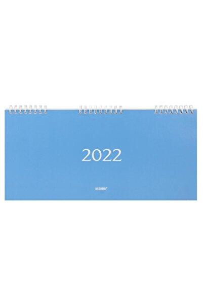 Bayındır 2022 Haftalık Spiralli Masa Takvimi 15.5 X 33 Cm Spiralli Çizgili - Mavi